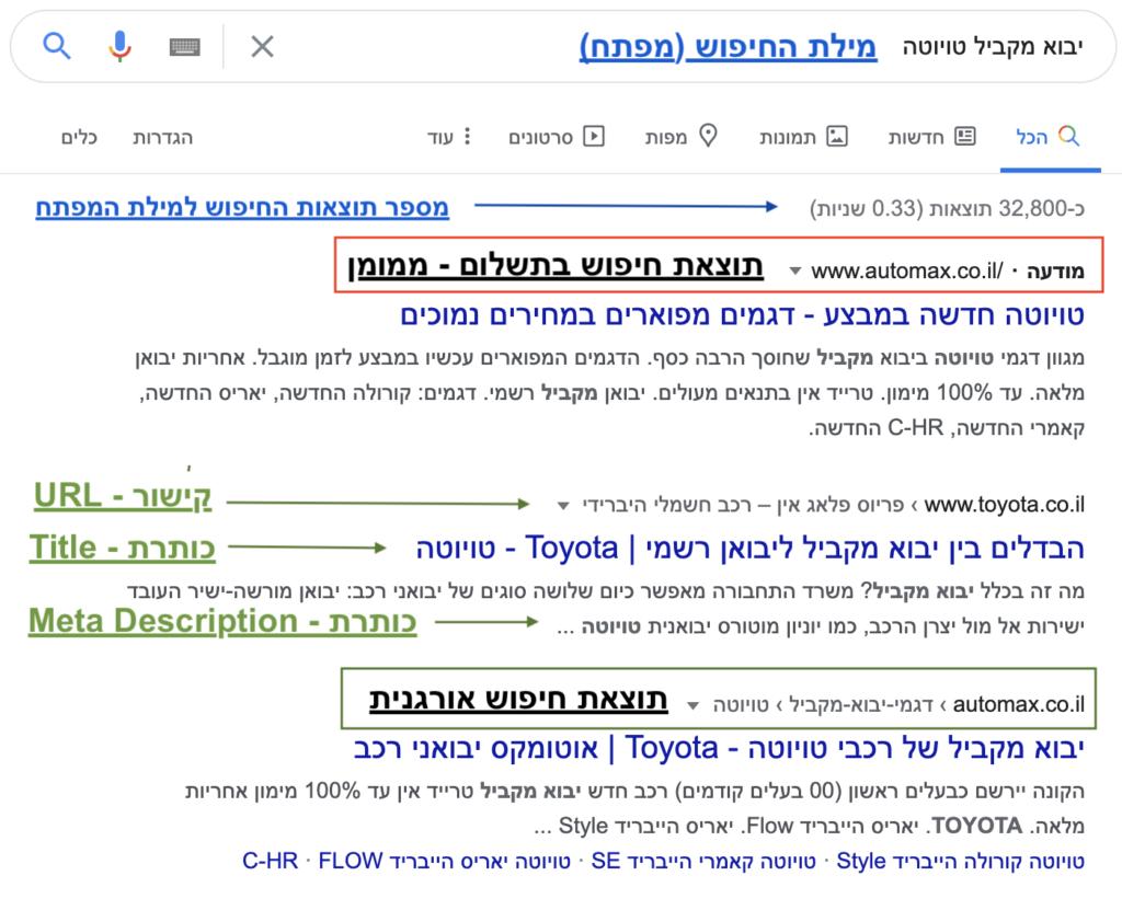 עמוד תוצאות החיפוש של גוגל